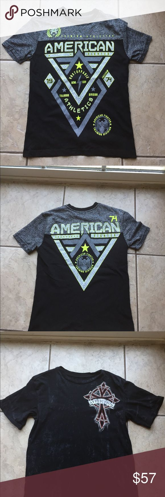 Boys Affliction and American Fighter tees Perfect for school!!! Listing is for all 3 shirts. Affliction shirt (Cain Velasquez) size Small (8) AFFLICTION SHIRT size Medium (10/12) AMERICAN FIGHTER SHIRT size Small (10/12)  Look through my closet for each separate listing and description.  *PRICE IS FIRM IN THIS BUNDLE AS SHIRTS ARE DISCOUNTED* Affliction Shirts & Tops Tees - Short Sleeve