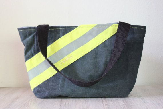 Recycled Firefighter Gear handbag with snap closure, tote, bunker gear bag 0010 on Etsy, $70.00