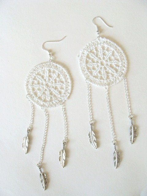 Crochet dream catcher earrings.  Made this.
