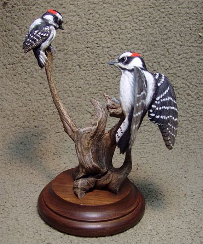 Woodpeckersl Miniature Carving by Bob Guge