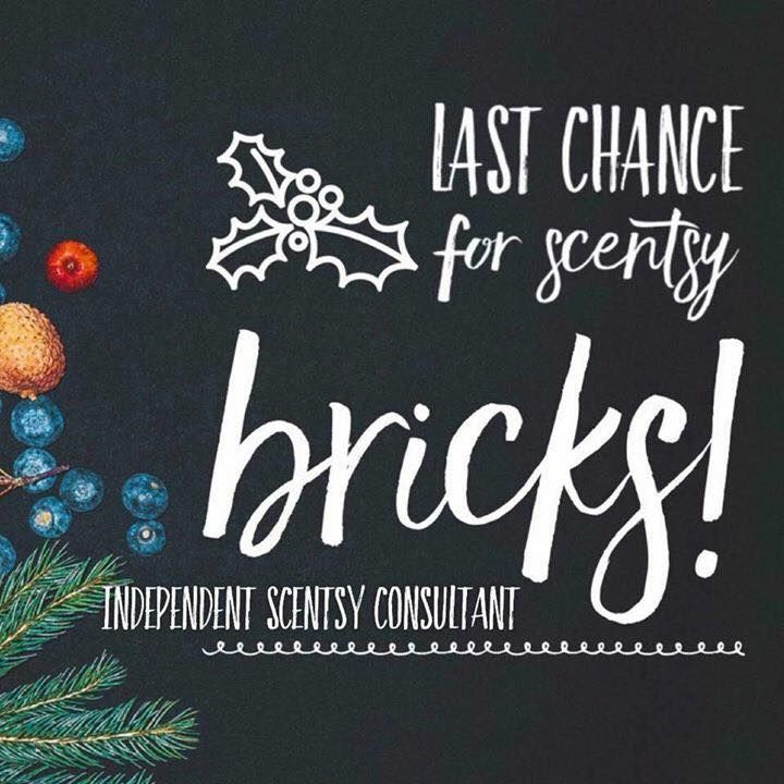 LAST CALL FOR BRICKS!!! 5.5 bars worth of fragrance for ONLY $20. 6 delicious scents to choose from. ORDER GOING IN TODAY! What can I get you?  *Bricks only available through Nov.* https://sscott.scentsy.us  or 712-314-0898