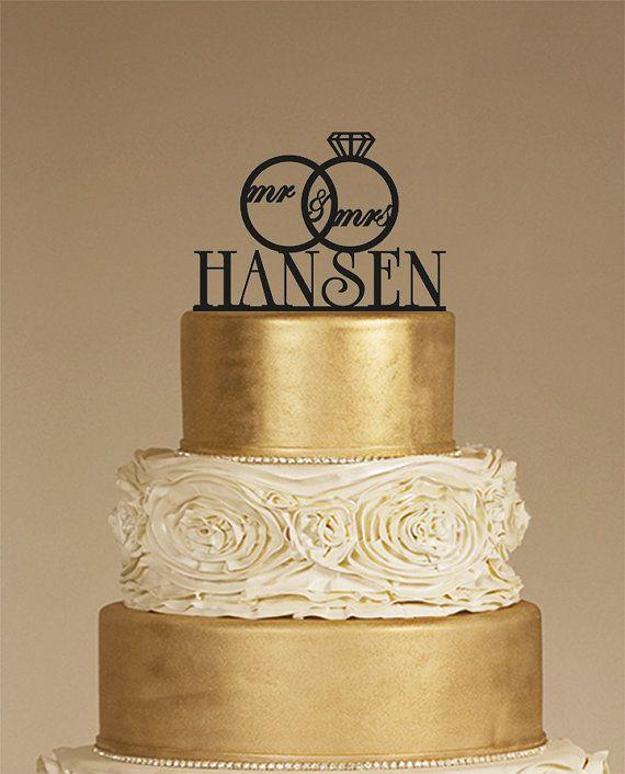 Custom Wedding Cake Topper - Personalized Monogram Cake Topper - Mr and Mrs - Cake Decor - Bride and Groom £8.66