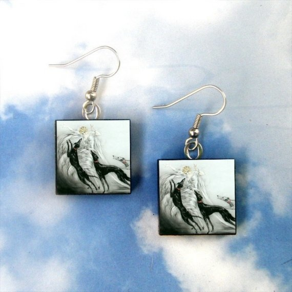 Barney needs these :-)COURSING  Louis Icart Greyhound EARRINGS by ohmydogness on Etsy, $10.95