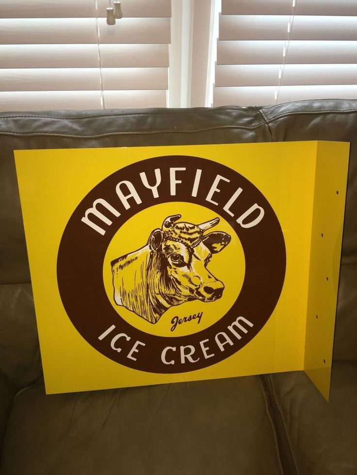 """Vintage Mayfield Ice Cream Dairy Cow Farm 2 Sided 20"""" Flange Sign"""