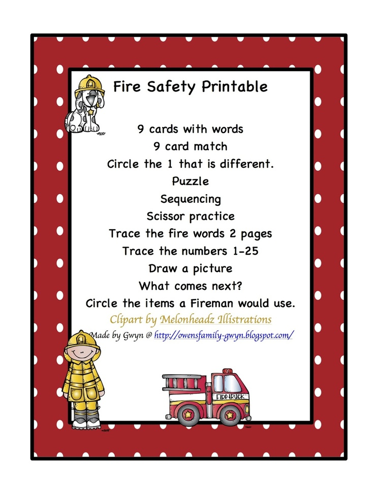 Preschool Printables: Fire Safety Printable | Teaching ...