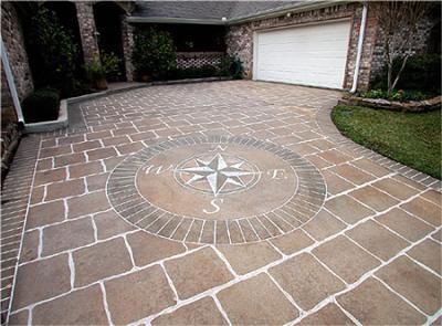 Custom compass design acid stained engraved outside living decorative design ideas for Exterior concrete driveway paint