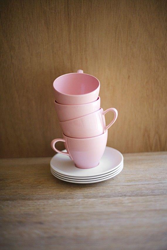 Melmac Pink Cup Saucer Set