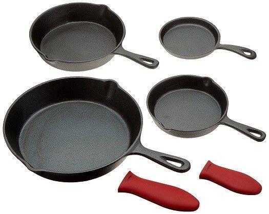 Pre-seasoned Cast Iron 4 Piece Skillet Set Stove Oven Fry Pans Pots  Cookware #CrucibleCookware