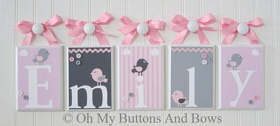 Hanging Name Letters Nursery Name Blocks  by OhMyButtonsAndBows, $20.00