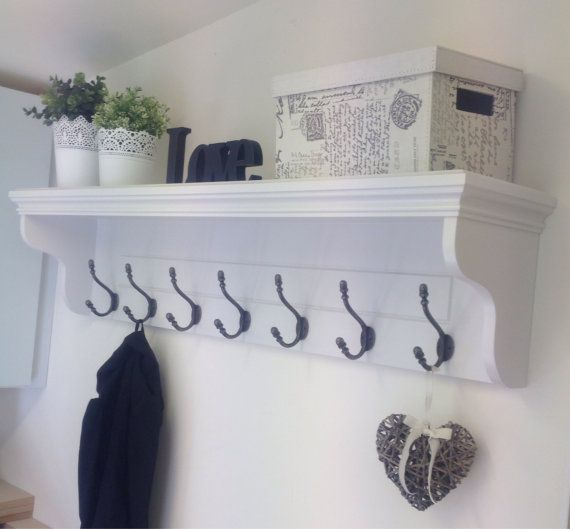 Large White Hallway Coat Rack With Shelf and 7 Cast Iron Hooks - Available  In A
