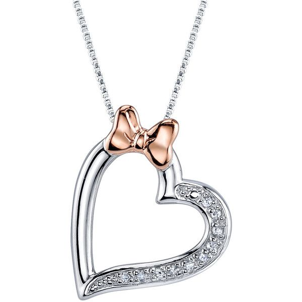 18 Disney Pink Sterling Silver 1/20 ctw Diamond Minnie Mouse Bow Heart... ($110) ❤ liked on Polyvore featuring jewelry, necklaces, sterling silver heart pendant, sterling silver pendant necklace, pink heart necklace, pendant necklace and sterling silver pendants