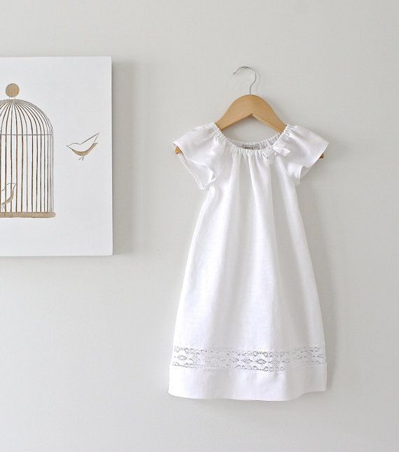 Baby Girl Baptism Dress-Soft White Pure Linen and Lace Dress-Special Occasion-Christening Dress-Children Clothing by Chasing Mini