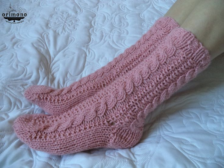 Hand knitted cable socks by ORIMONO http://orimono.ga