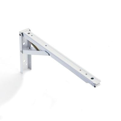 A folding shelf bracket.  Perfect for the wall shelves you need to fold down flat when not being used.......D.