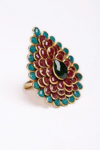 #Multicoloured #Pear-shaped #Ring on http://www.indiainmybag.com/designer-pachi-jewellery.html