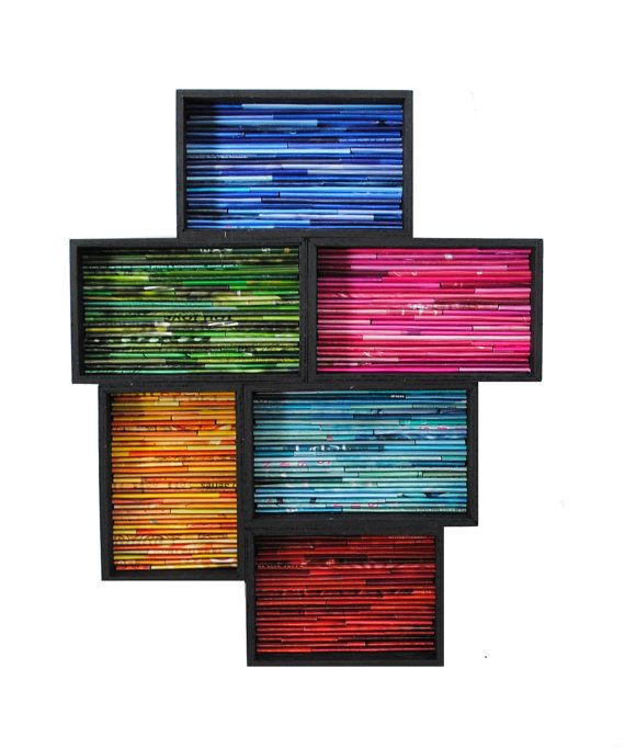 Color de arte moderno - de revistas recicladas, plazas, bloqueo, colorido, rectángulos, azul, rosa, verde, amarillo, turquesa, rojo, negro