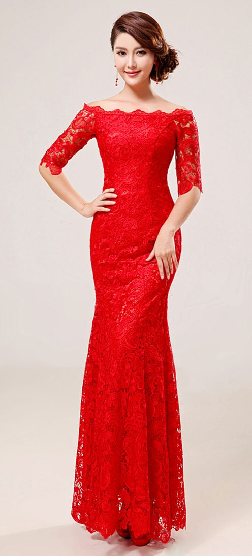 Chinese red modern lace bridal dress gown | Modern Qipao | 8 Days of Christmas Giveaway | win a red oriental dress