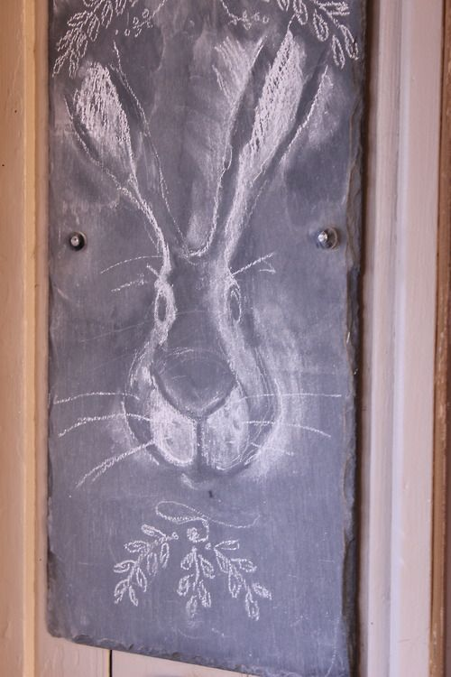 The chalkboard that welcomes guests outside my kitchen door is sporting a very special rabbit I drew to welcome my niece when she comes to visit tomorrow…..I think she'll like it!