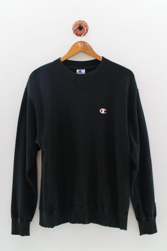 CHAMPION Crewneck Sweatshirt Unisex Large Champion USA Pullover Sweater  Champion Authentic Athletic Apparel Black Jumper Size L 85e7e766149