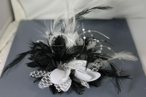 Black and White Fascinator Black Headband Clip Comb by Caprilite