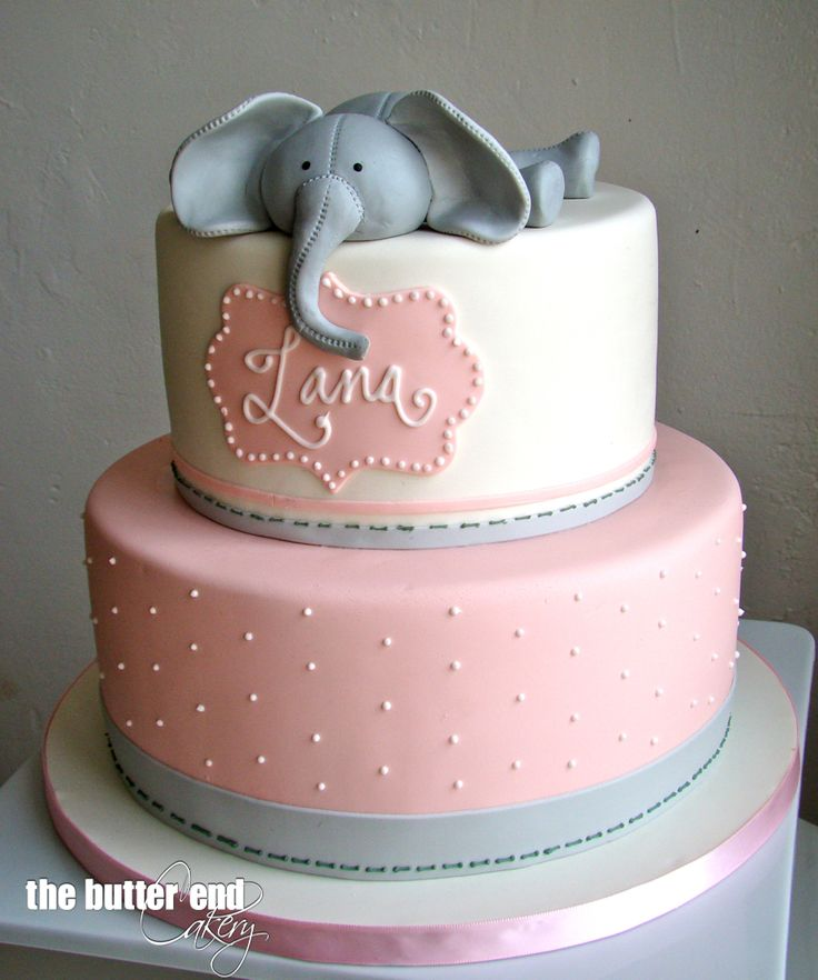 Awesome Pink And Grey Elephant Baby Shower Cake By The Butter End Cakery