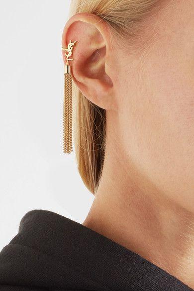 Saint Laurent | Gold-plated tassel clip earring | NET-A-PORTER.COM
