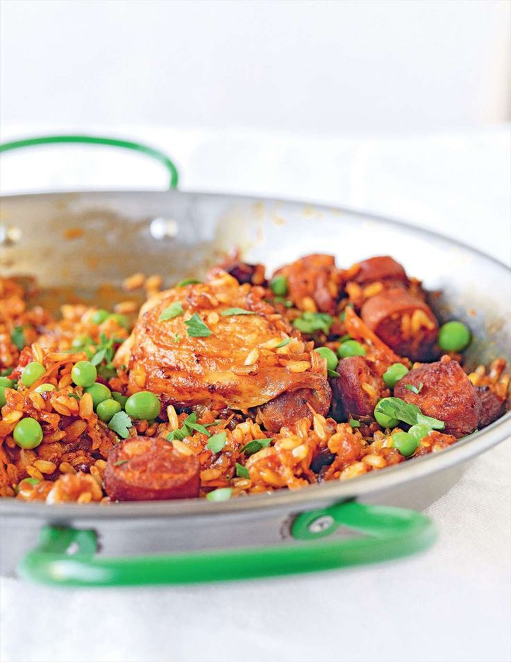 Spanish saffron rice with chicken, chorizo & peas from Grains | Cooked