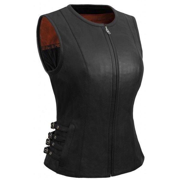 True Element Womens Side Buckled Zip Front Motorcycle Leather Vest... ($76) ❤ liked on Polyvore featuring outerwear, vests, leather waistcoat, genuine leather vest, leather vests, leather motorcycle vest and motorcycle vest