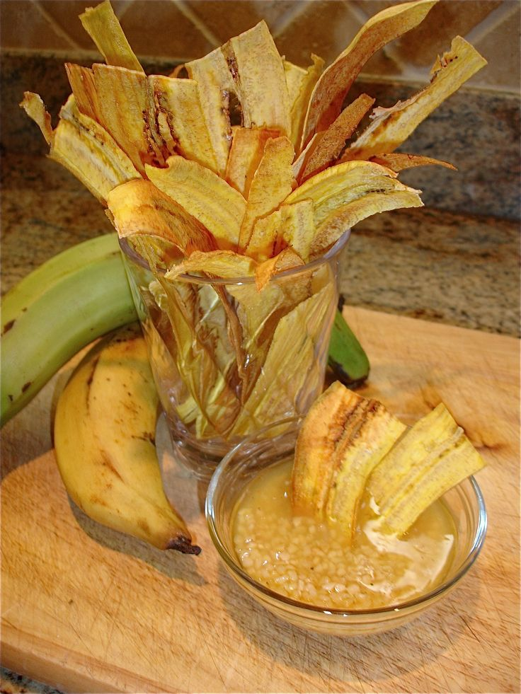 Baked Plantain Chips with Garlic Sauce