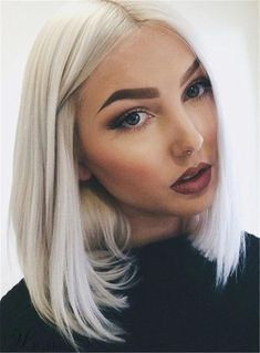 Shoulder Length Middle Part Straight Hairstyle Synthetic Lace Front Wigs 12 Inches - November 03 2019 at 02:16AM
