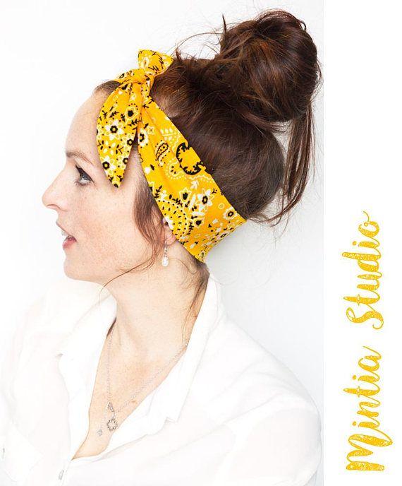Yellow Bandana Tie On Headband   Cowboy Bandana Country Hair