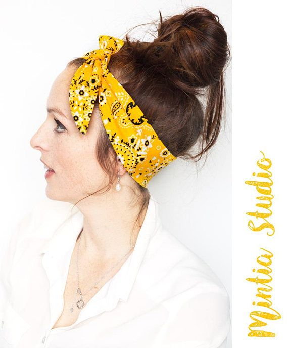 Yellow Bandana Tie On Headband