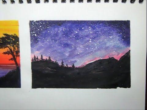 Resultado de imagen para cuadros del cielo estrellado acuarela
