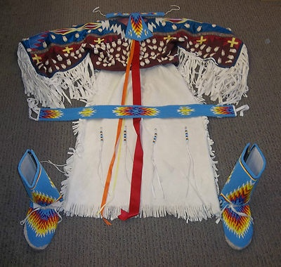 NATIVE AMERICAN BEADED ELKS TOOTH DANCE OUTFIT CHIPPEWA CREE VERY TIGHT BEADING