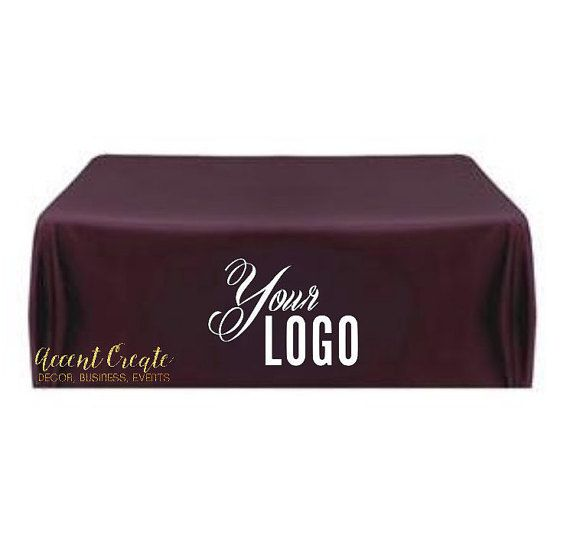 Display your items at your next event on a eye-catching custom tablecloth. Polyester tablecloth is resistant to snags, pilling, stains and wrinkles. 6ft cloth Measures 90x132 fits 6ft rectangular banquet tables to touch all the way to the floor on each side. The heat applied vinyl logo design will be approx 14x36 in size depending on logo design. Tablecloth will be durable and machine washable. *Please be sure to add your event date, lettering color(s) and all design details in the Note to…