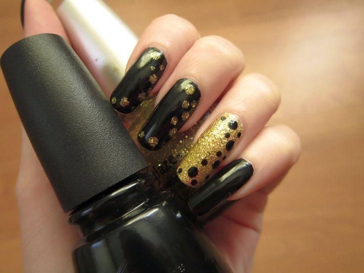nail art tutorial, black, gold, dots