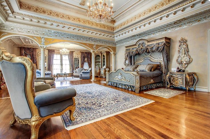 Master bedroom in a french chateau inspired mansion in ontario canada lap of luxury Master bedroom in a mansion