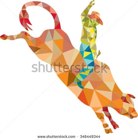 Low polygon style illustration of a rodeo cowboy riding bucking bull viewed from the side set on isolated white background. - stock vector #rodeo #lowpolygon #illustration