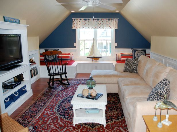 16 Amazing Attic Remodels: If you have enough headroom, include a ceiling fan to keep the place cool in warmer weather.  From DIYnetwork.com