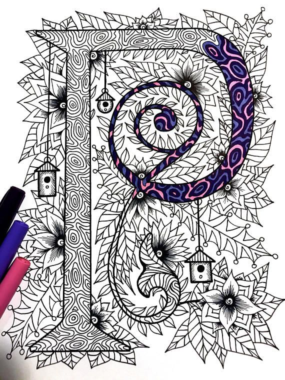 Letter P Zentangle  Inspired by the font Penelope