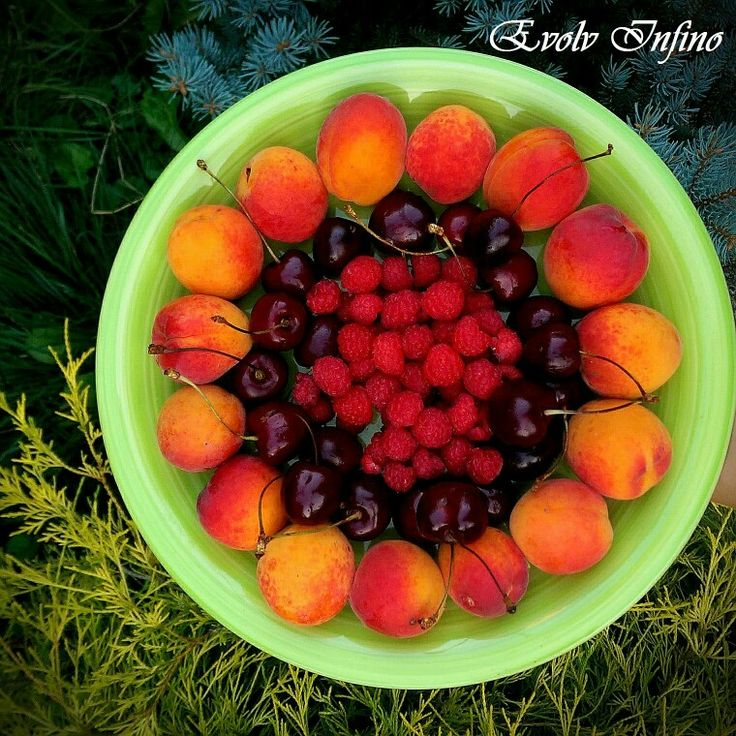 Juicy Fruits for the start of a Fresh day ! Apricots, Cherries & Raspberries.