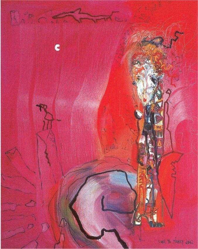 "Soile Yli-Mäyry, 2002: ""Burning Dream"", 150cm x 120cm (oil)"