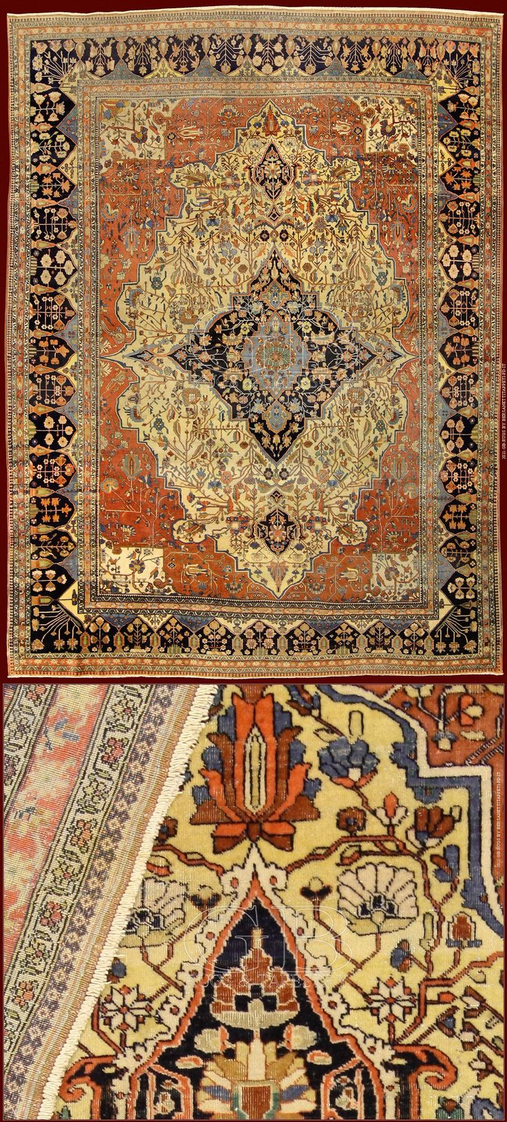 cm 340 x 255ft 11'2 x 8'4 Cod:: 141134944580 Extraordinary KASHAN MOHTASHAM RUG with very dense knot attributable to master Kashan Mohtasham's manufactures! The pile is so shiny to seem knotted with the silk. It's a exemplary of old epoch (end of 19th. century) in perfect state of conservation: it has never had restorations and it is completely full pile, rare thing in rugs as this.