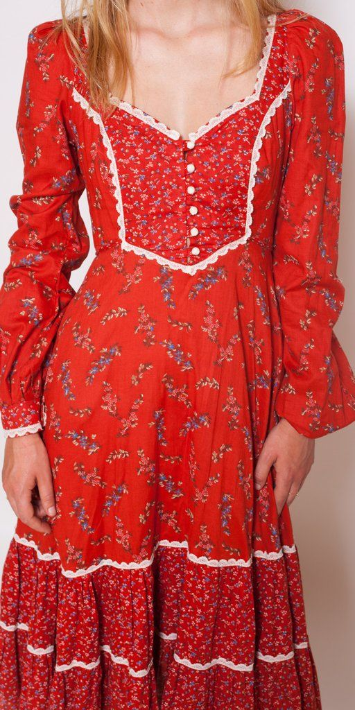 Red Floral Gunne Sax Dress