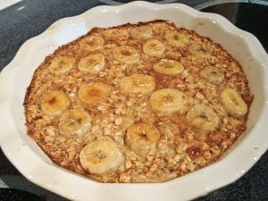 baked banana oatmeal: made this because I'm trying to cook breakfast every morning for the kiddos