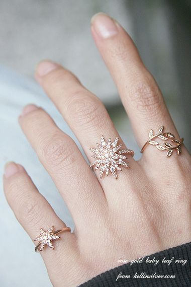 Rose Gold Baby Leaf Ring Wrap from kellinsilver.com