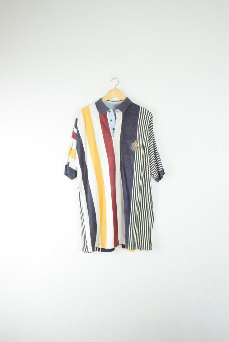 1991 STRIPED POLO SHIRT // size adult xx large // 90s // rugby // prep // henley // urban / color block colorblock / stripes / vtg vintage by GUTTERSHOP on Etsy https://www.etsy.com/uk/listing/495169428/1991-striped-polo-shirt-size-adult-xx