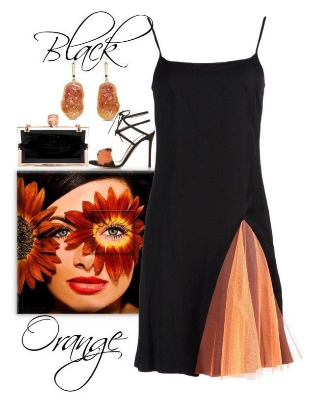 """Orange and Black"" by easy-dressing ❤ liked on Polyvore featuring Gianvito Rossi, Christopher Kane, WhatToWear, polyvoreeditorial, groupcontest and slipdress"