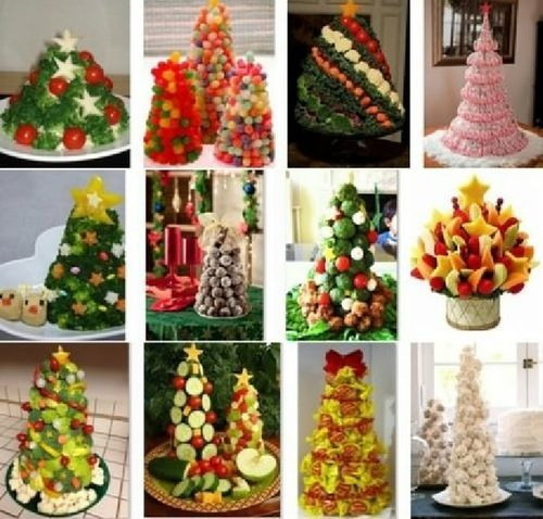 Из чего только не делают фигурки елок в новогодние праздники! «Перебрались» эти вечно зеленые деревца и на праздничные столы. Только посмотрите на этих вкусных красавиц! Аппетитные деревца, не правда ли? …
