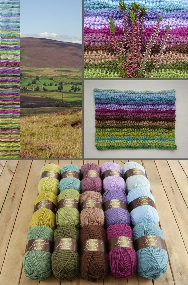 """Moorland"" Blanket CAL ~ Beginning Jan. 6, 2017 free crochet-along by Lucy of Attic24; 8 wks through Feb. 2017. Great for beginners. Lucy's 'Neat Wave' stitch pattern worked in 15 colors, 43""x59"". Moorland Q&A post: http://attic24.typepad.com/weblog/2016/11/moorland-blanket-cal-qa.html  Stylecraft Special DK (acrylic), hook size G or H, depending on your individual tension. ""Moorland"" yarn packs available from Wool Warehouse about $30.00, plus (worldwide) shipping which is very reasonable."